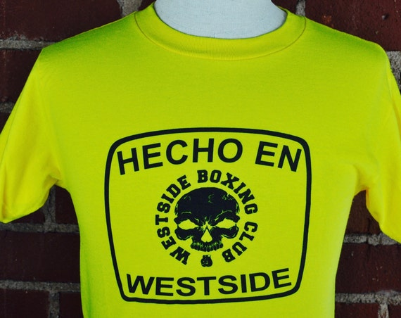 Bright Yellow Hecho En Westside Boxing Club T Shirt Tee Sz S.