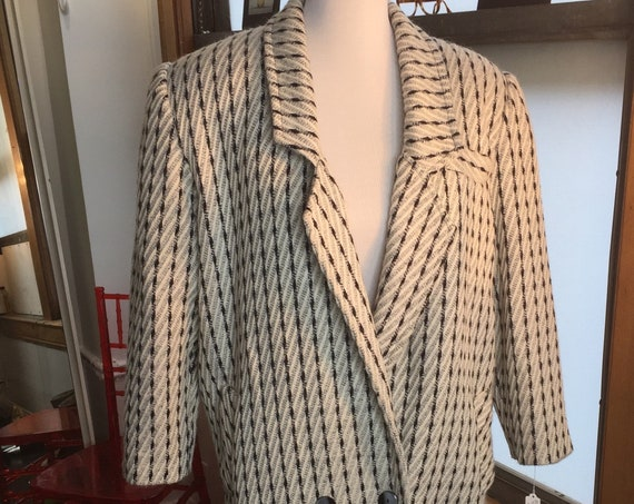 Fabulous 1980s Grey Black and White Tweed Overcoat with Wide Shoulders from Yah Hews
