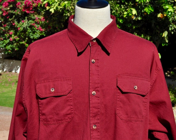 Men's 90s 100% Cotton Red Wrangler Button Down Shirt with Beige Contrasting Sz 2X XXL