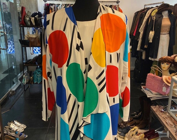 Stunning and Colorful Hand-Painted 1980s Silk Dress, Scarf and Jacket by Yolanda Lorente for Neiman Marcus