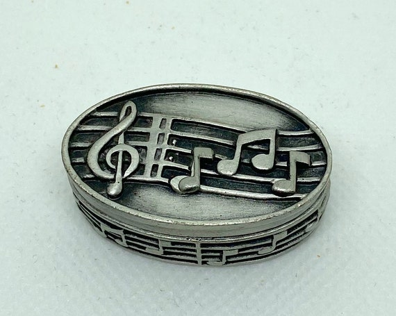 Pewter Music Note Trinket Box, Brooch, and Matching Earrings