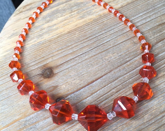 Gorgeous 1960s Lot of 3 Vintage Glass Bead Necklace Lot of 3 in Orange, Yellow, and Silver