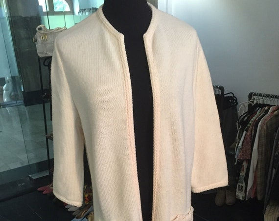 Lovely Vintage 1960s Cream Colored Cardigan from Lee Herman of California