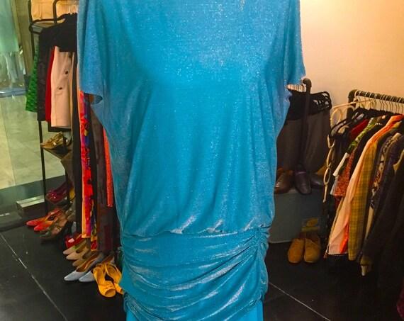 Glamorous Vintage 1980s Halston III Aqua Blue Dress