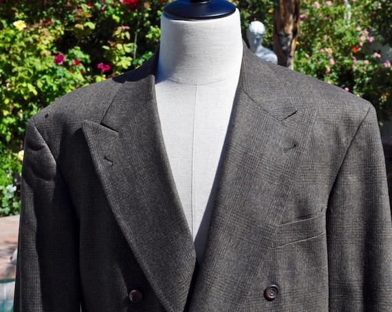 Men's Nigel's Saks Fifth Avenue by Nathan David  Plaid Wool Blazer Jacket Sz 44R