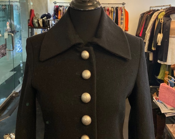 Adorable 1980s Esprit Wool Coat with Silver Buttons