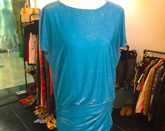 Glamorous Vintage 1980s Halston III Aqua Blue Dress