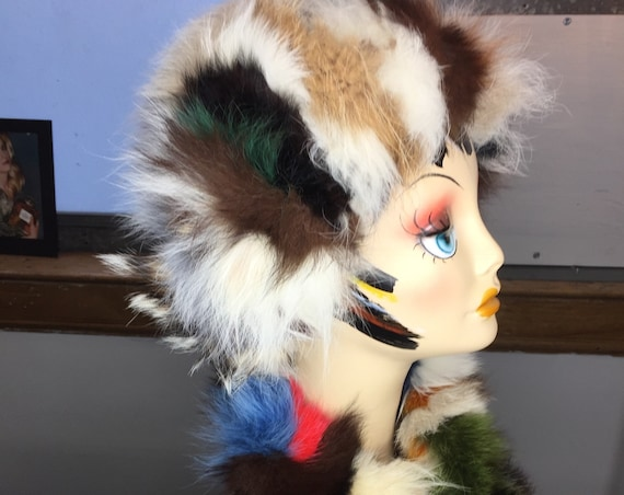 Vintage 1960s Multi-Colored Fox Hat and Scarf from Saks Fifth Avenue with Original Tags