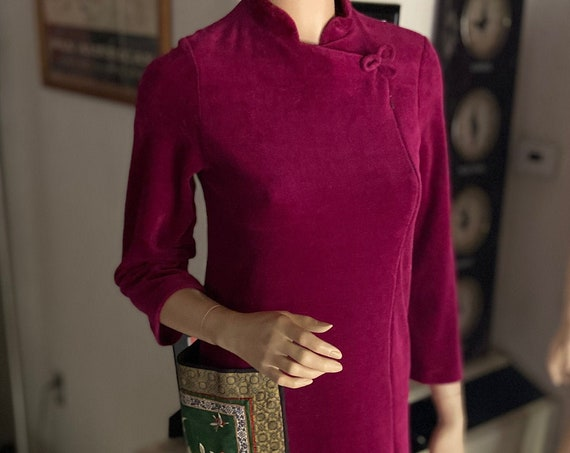 Vintage 1970s Purple Velour House Gown w Huge Embroidered Satin Pocket From Claire Haddad