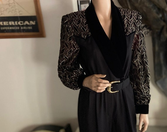 Vintage 1980s Jumpsuit John Roberts Velvet and Crepe  with Gold Buckled Belt and Chiffon Lace-Worked Arms Size 6
