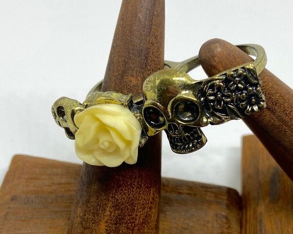 Cool Skull and Roses Metal and Enamel Statement Ring with Double Ring Fit Size 8