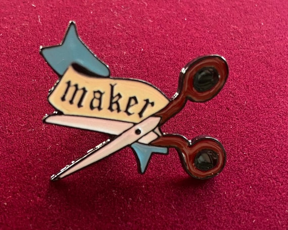 Cute Maker Scissors Enamel Pin Button