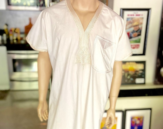 Cream Colored Long Embroidered Kaftan
