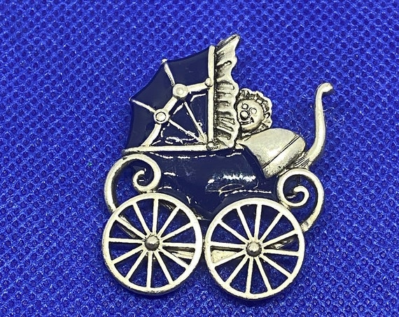 Adorable Navy Blue and Pewter Danecraft baby Carriage Pram Brooch