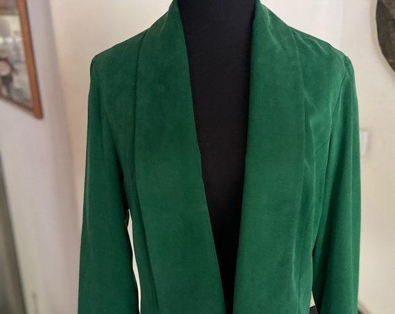 Lovely Anthropologie Cartonnier Emerald Green Soft Tencel Women's Blazer