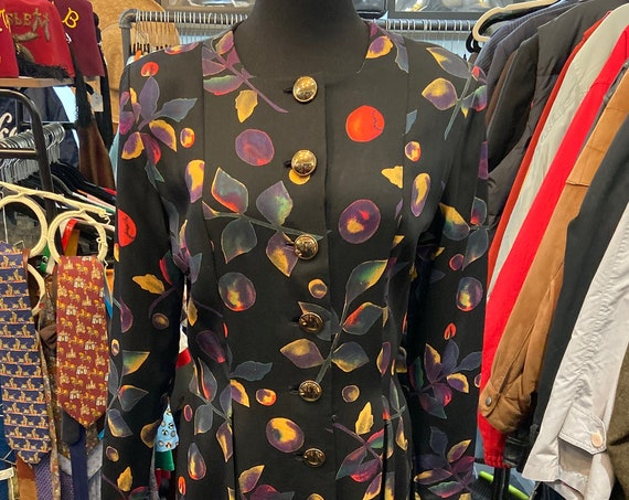Gorgeous Rare Pauline Trigere 1970s/80s Dress with Leaf and olive Motif