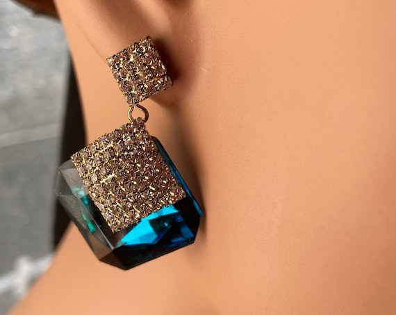 Beautiful Diamante and Blue Glass Faux Topaz Kirks Folly Earrings