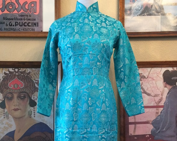 Gorgeous Turquoise Blue Cheongsam Long SleeveMaxi Length Size Small