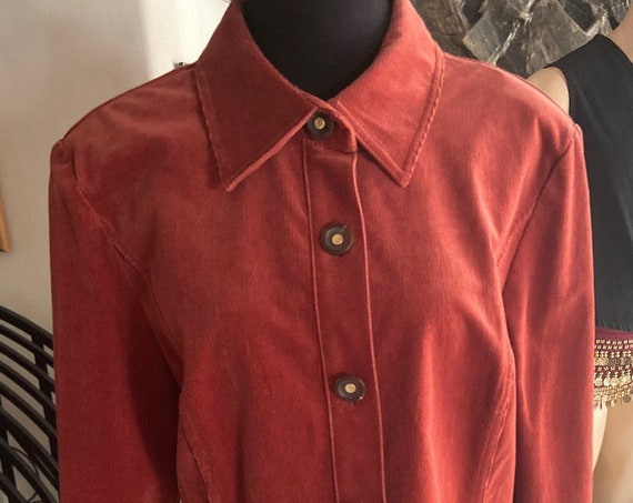 Vintage 1990s St John Sport Rust Colored Corduroy Jacket Size Large