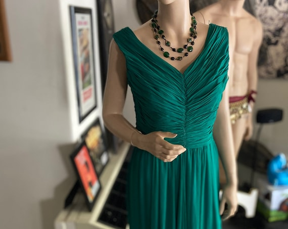 Beautiful 1950s Emerald Green Grecian Style Formal Sleeveless Gown from Will Steinman Original
