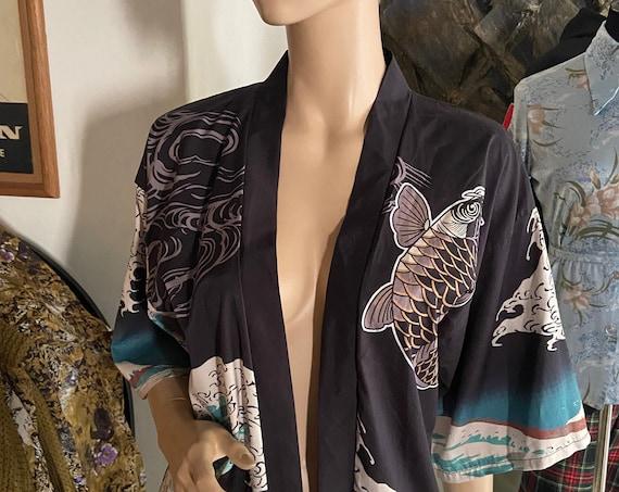 Gorgeous Koi and Wave Themed Kimono Blazer Upcycled with a Vintage Jade Buddha Head Bracelet