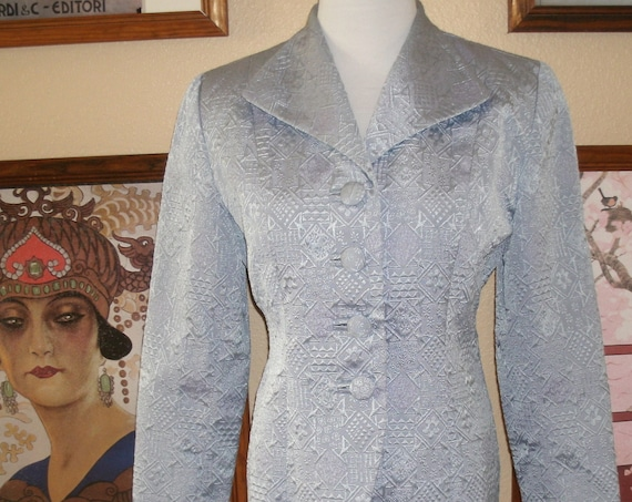 Lovely Madrigano Pale Blue Brocade Jacket,Size 4,Made in USA.