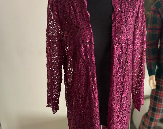 Long Maroon Lace and Sequins Cardigan Duster