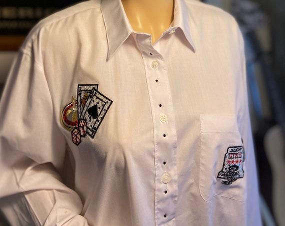 Cute Women's White Button Down Shirt with Vegas Casino Motif