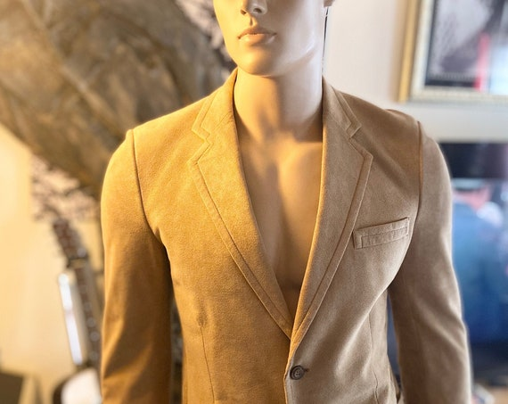 Mens  Saks Fifth Avenue Camel-Colored Ultra Suede Blazer