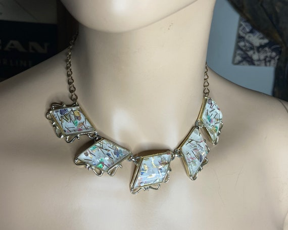 Beautiful Vintage 1960s Gold Toned Choker with Confetti Foiled Lucite Pendants Signed PAM