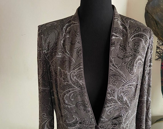 Sparkly Silver and Grey Cocktail Blazer from Alex Evenings Size 8