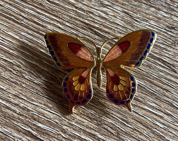 Lovely 1970s Cloisonne Butterfly Brooch