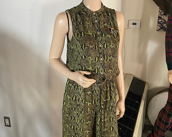 Michael Kors Snakeskin Sleeveless Jumpsuit Upcycled with a Vintage 1980s Macaw Brooch Sz 6