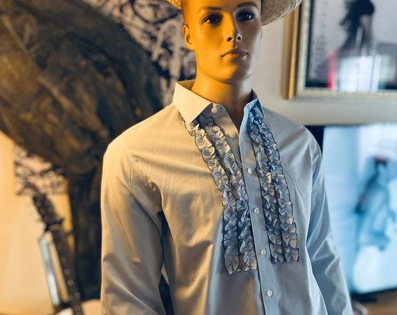 Men's Blue Ruffled Tuxedo Shirt