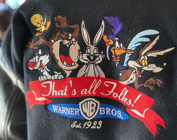Men's Warner Bros Letterman Jacket That's All Folks Oversized Medium