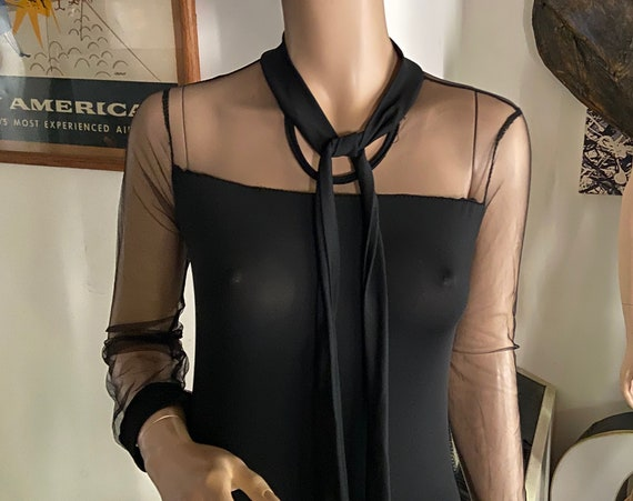 Sexy Black BodyCon Sheer Bodysuit with Snaps and Attached Bow