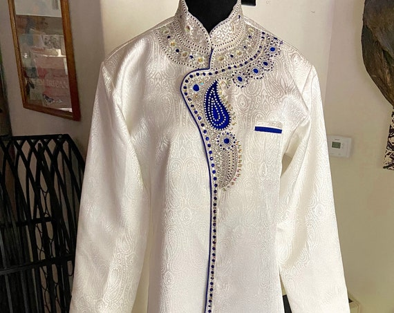 Absolutely Stunning White Kurta with Blue Velvet Accents Beaded and with a Paisley Motif