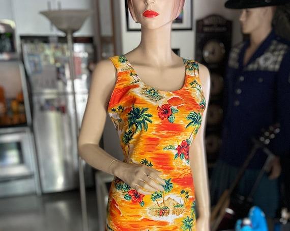 Vibrant Orange 1960s Cotton Hawaiian Dress