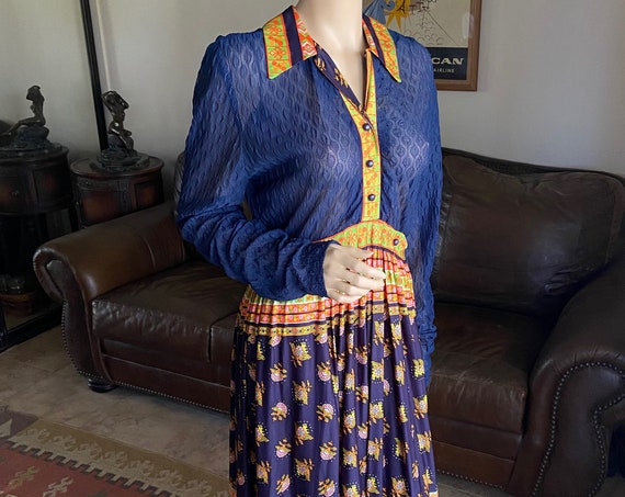 Beautiful 1960s Maxi Hostess Gown from Peck & Peck in Blue and Gold
