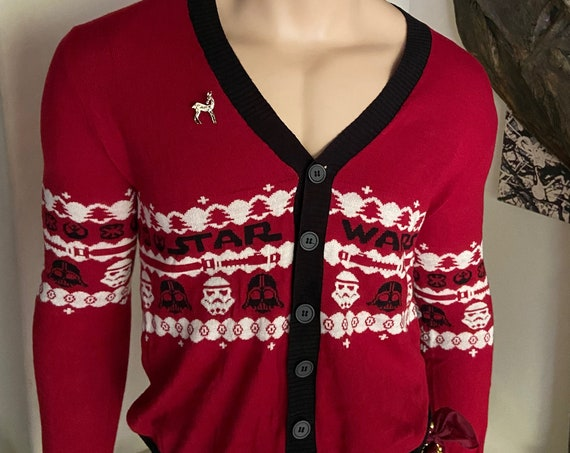 Cute Star Wars Christmas Themed Unisex Cardigan Sweater Upcycled with 1950s Deer Brooch Darth Vader Stormtroopers