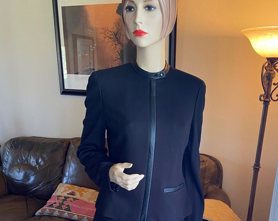 Chic Lauren by Ralph Lauren Two Piece Suit Set Size 12(Blazer) and Size 8(Slacks) with Leather Accents