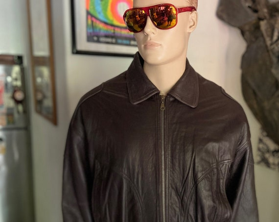 Awesome Men's Pierre Cardin Vintage 1980s   Chocolate Brown Fully Lined Leather Jacket