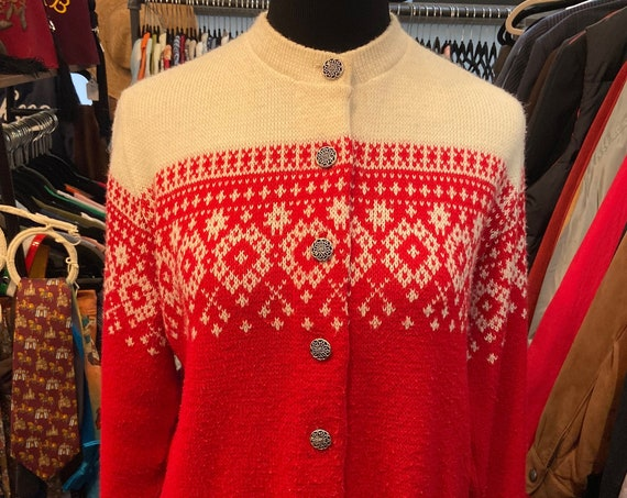 Vintage 1960s Jersild Nordic  Red and Cream Cardigan