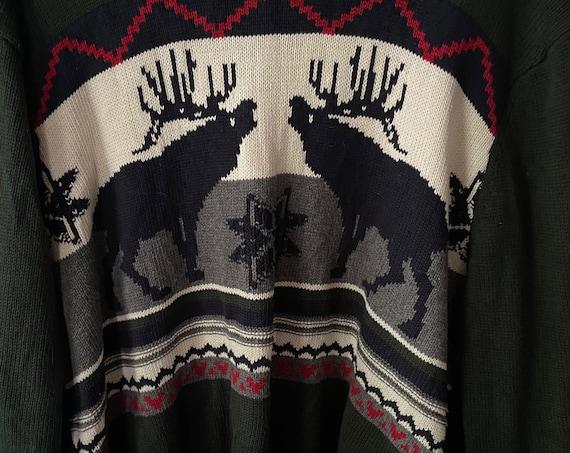1990s Dockers Deer Christmas Holiday Winter Scene Sweater Size XL
