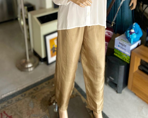 Vintage 1990s Copper Colored Silk Pajama Style Women's Slacks from Mureli