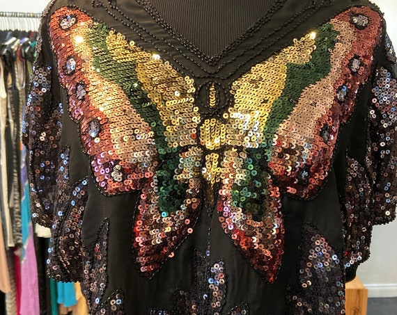 Beautiful Black and Gold Butterfly 1980s Vintage Silk and Sequined Blouse