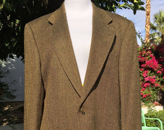 Brooks Brothers Brown and Gold Silk/Wool Blend Jacket ,Herringbone Pattern, Size 40R.
