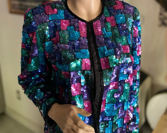 Gorgeous 1980s Laurence Kazar Sequined Silk Blazer Jacket with Shoulder Pads