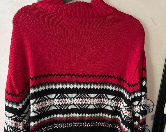 Men's 1990s Chaps Button Up Mock Turtleneck Holiday Sweater Size XL