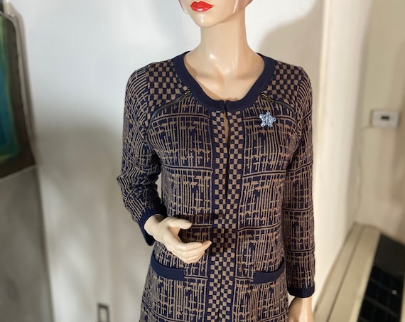 Cute Knitted Cardigan Sweater or Tunic Jacket with Zipper Accents Upcycled with a 1960s Vintage Brooch